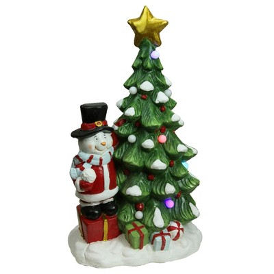 "Northlight 23"" Red and Green Pre-Lit LED Tree with Santa Snowman Musical Christmas Tabletop Decor"