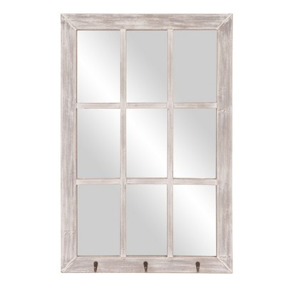 "24""x36"" Distressed Windowpane Wall Mirror with Hooks White - Patton Wall Decor"