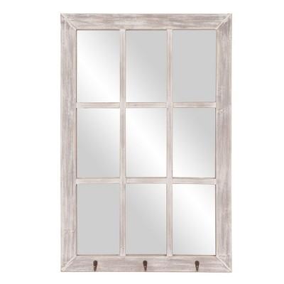 24 x36  Distressed Windowpane Wall Mirror with Hooks White - Patton Wall Decor