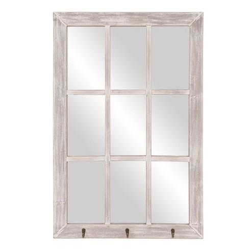 """24""""x36"""" Distressed Windowpane Wall Mirror with Hooks White - Patton Wall Decor - image 1 of 4"""