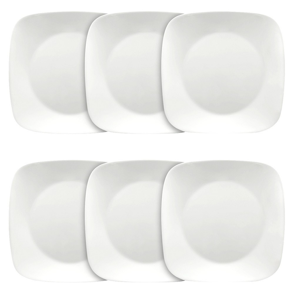 Corelle Square Vitrelle Plates (10.25) White - Set of 6