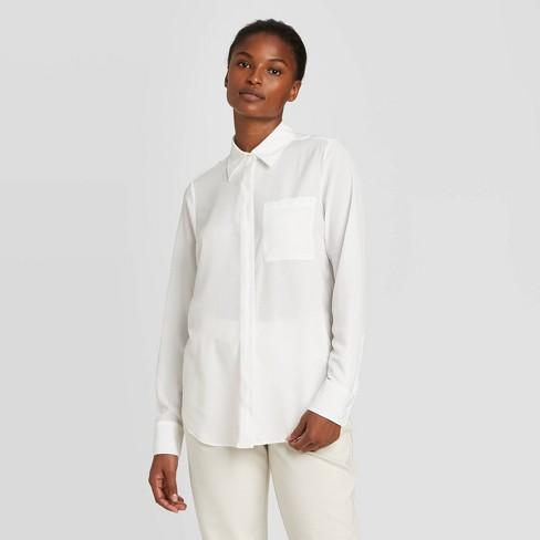 Women's Long Sleeve Open-Front Button-Down Shirt - Prologue™ - image 1 of 3