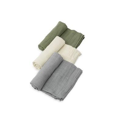 Little Unicorn Cotton Muslin Swaddle Blanket - Fern 3pk
