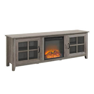 """Transitional Farmhouse Glass Window Pane Door TV Stand for TVs up to 80"""" - Saracina Home"""