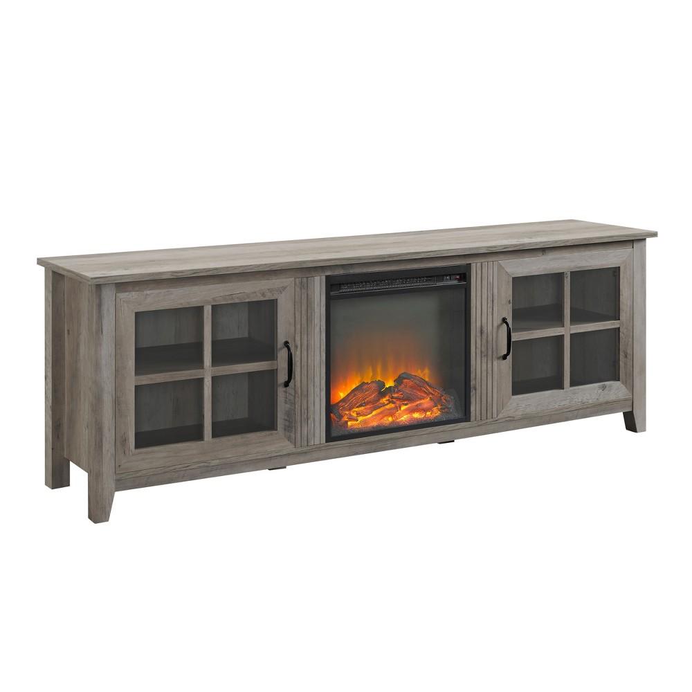 70 Farmhouse Wood Fireplace Glass Door TV Stand Gray Wash - Saracina Home
