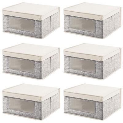 mDesign Fabric Closet Storage Organizer Box, Medium, 6 Pack