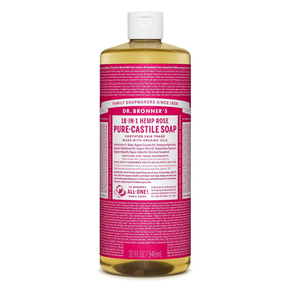 Image of Dr. Bronner's 18-In-1 Hemp Pure-Castile Soap - Rose - 32 fl oz