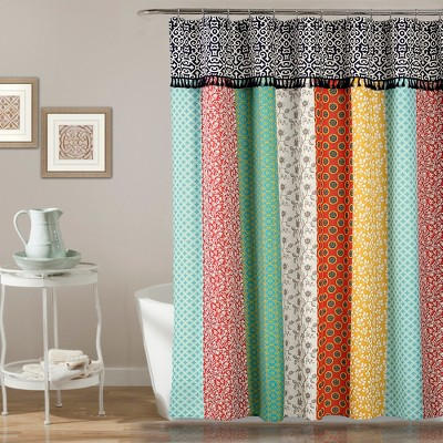 Geometric Boho Patch Shower Curtain - Lush Décor
