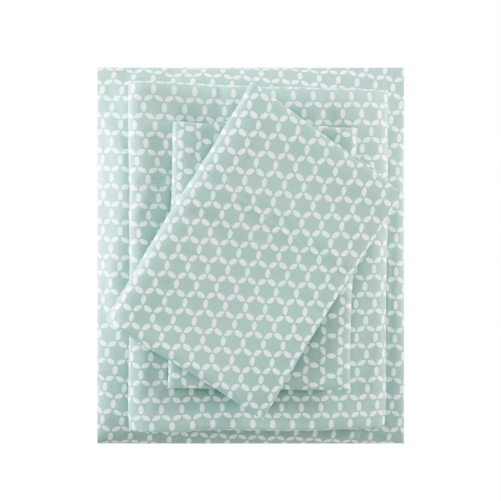 Image of 3M Microcell Print Sheet Set (California King) Aqua, Blue