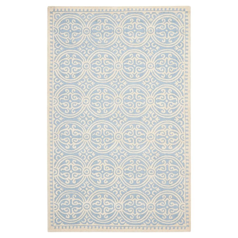 Light Blue/Ivory Color Block Tufted Area Rug 7'6