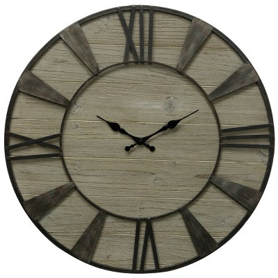 Round Weathered Wood Wall Clock with Roman Numerals - StyleCraft