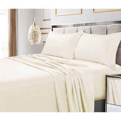 Queen 4pc 600 Thread Count Deep Pocket Solid Sheet Set Ivory - Tribeca Living