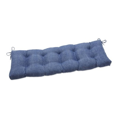 """48"""" x 18"""" Outdoor Tufted Bench/Swing Cushion Tory Denim Blue - Pillow Perfect"""