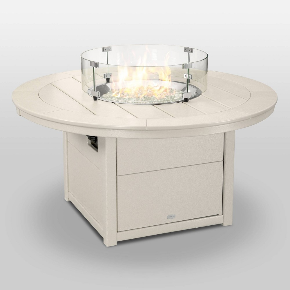 Polywood Round 48 Outdoor Fire Pit Table - Sand (Brown)