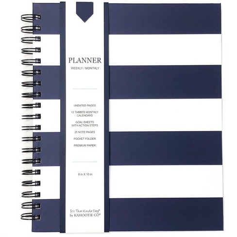 "Undated Weekly Planner 8"" X 10"" Navy Stripe - Kahootie Co - image 1 of 4"