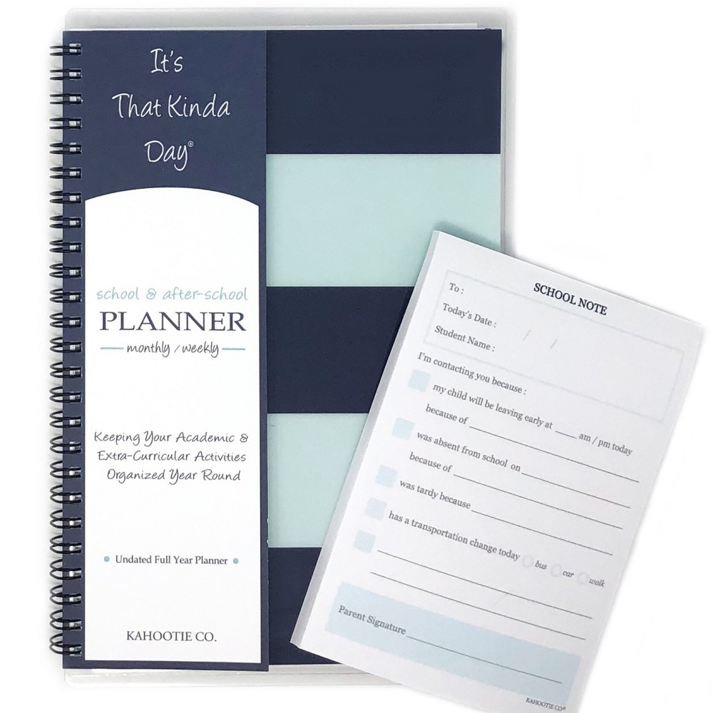 "Image of ""Undated Academic Planner 8.5""""x5.5""""& Sticky Pad Bundle Teal Stripes - Kahootie Co, Blue"""