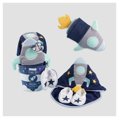 Baby Aspen Cosmo Tot Spaceship 4pc Bath Time Gift Set - Multi-Colored 0-9M
