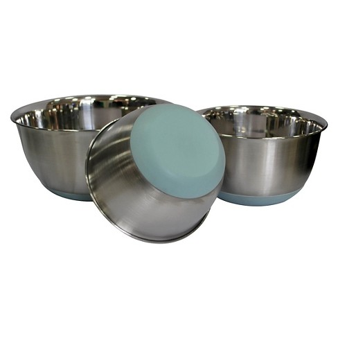 Stainless Steel Mixing Bowl Set of 3 - Blue - Threshold™ - image 1 of 1
