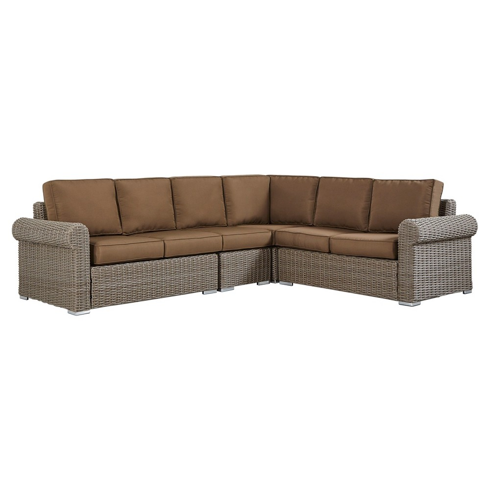 Riviera Pointe Wicker Patio 6 - Seat Round Arm Sectional with Cushions - Mocha/Brown - Inspire Q