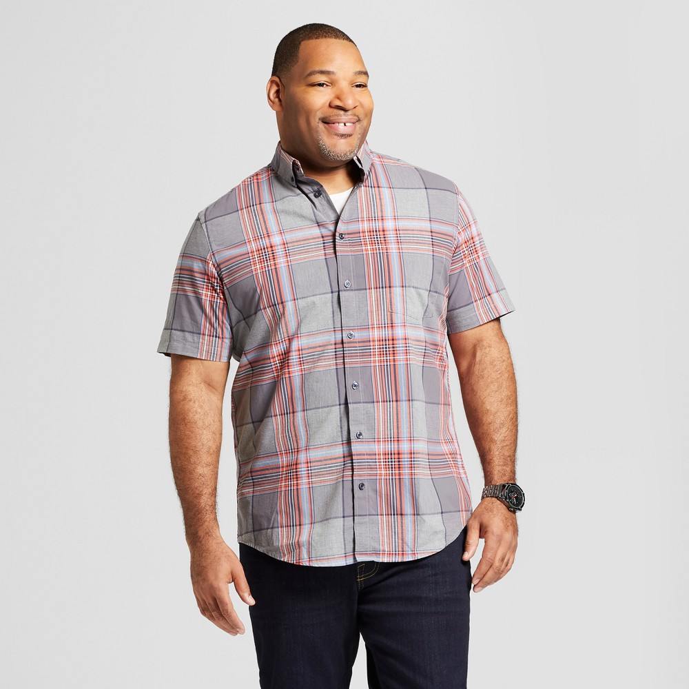 Men's Big & Tall Short Sleeve Soft Wash Standard Fit Button-Down Shirt - Goodfellow & Co Silver Wing 3XB