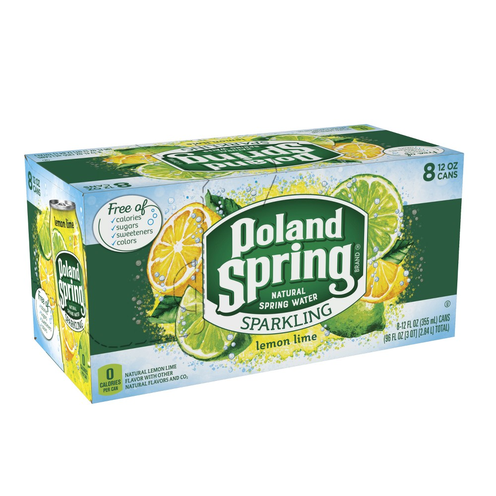 Poland Spring Lemon Lime Flavored Sparkling Water - 8pk/12 fl oz Cans