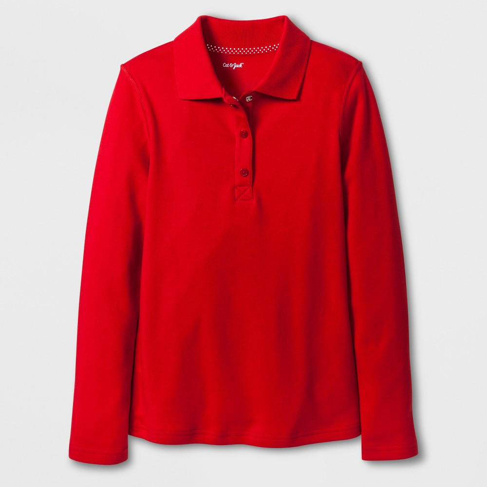 Girls' Adaptive Long Sleeve Uniform Polo Shirt - Cat & Jack Red XS