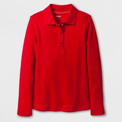 Girls' Adaptive Long Sleeve Uniform Polo Shirt - Cat & Jack™ Red