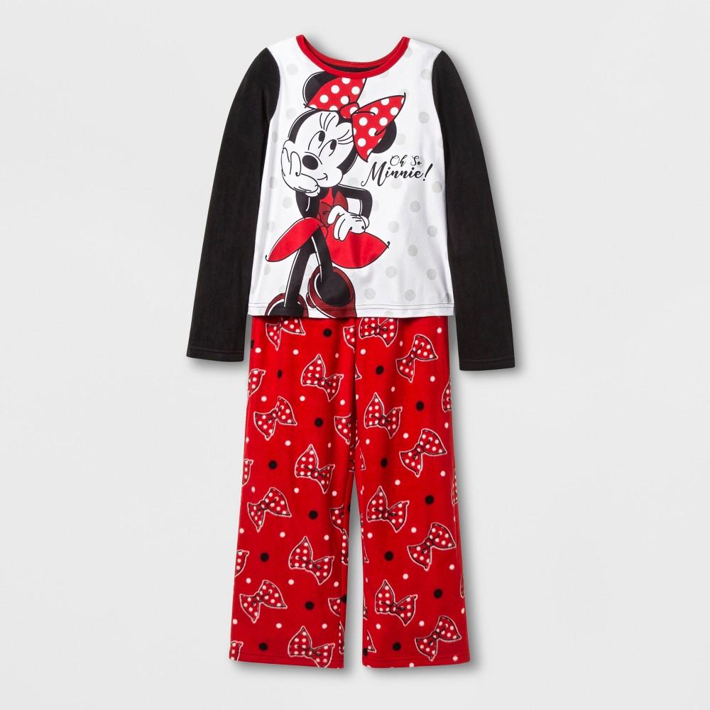 Girls' Minnie Mouse 2pc Pajama Set - Red 10