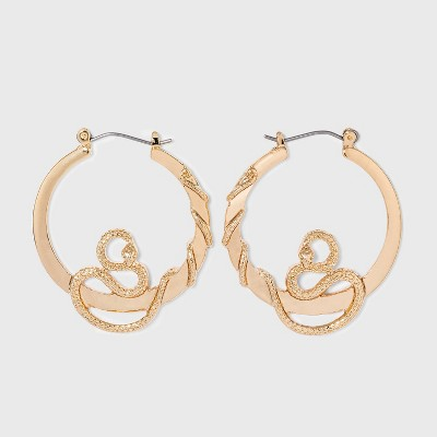 Gold Snake Hoop Earrings - Wild Fable™ Gold