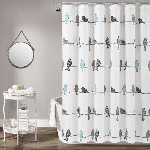 Rowley Birds Shower Curtain Blue Gray, Shower Curtains Gray And Blue