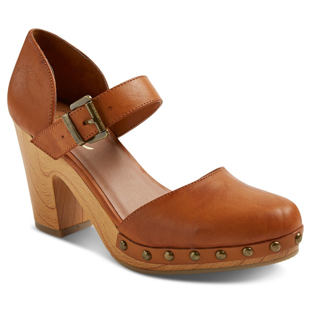 Women's Revel Faux Wood Bottom Mary Jane Clogs - Honey 8.5
