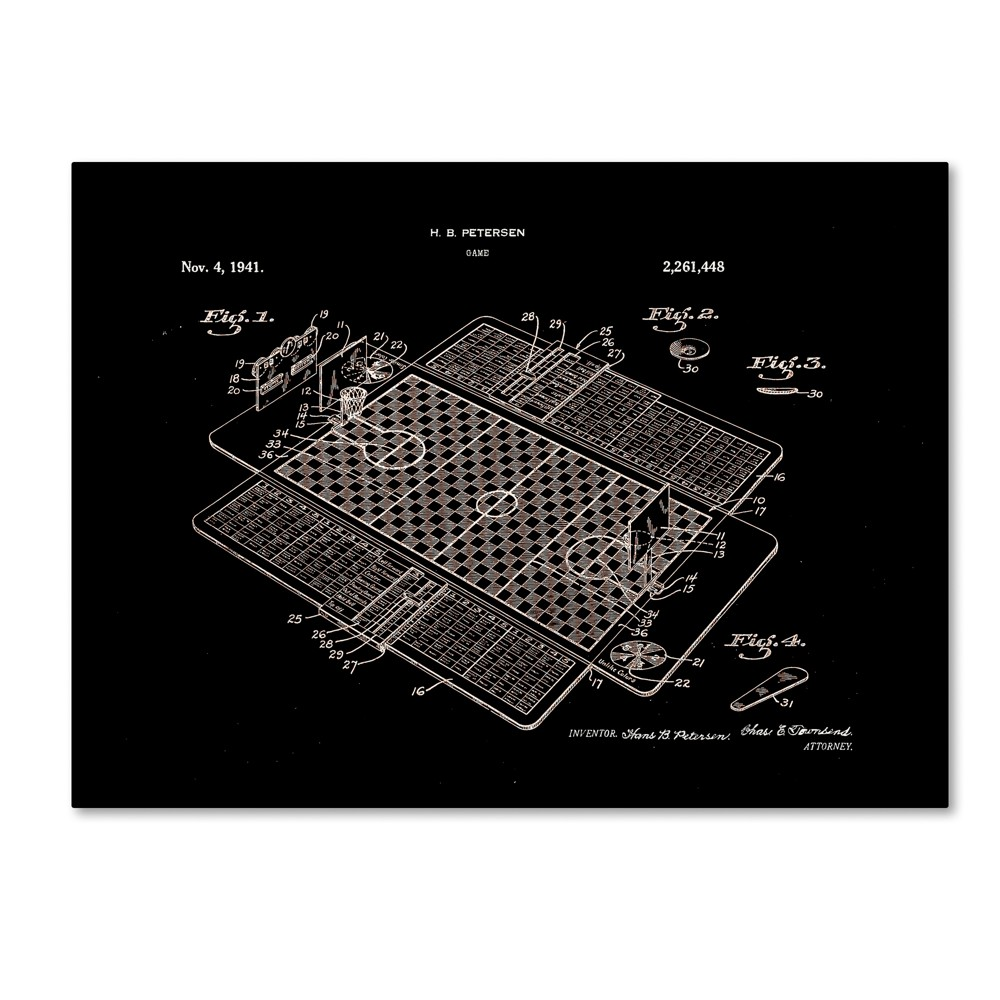 Claire Doherty Basketball Court Game Patent 1941 Black Canvas Art - Trademark Fine Art, Multicolored