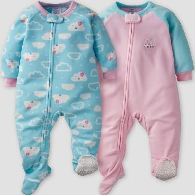 Gerber® Baby Girls' 2pk Dreamer Micro Fleece Blanket Sleeper - Pink/Green 6-9M