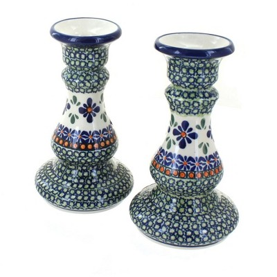 Blue Rose Polish Pottery Mosaic Flower Candlestick Pair