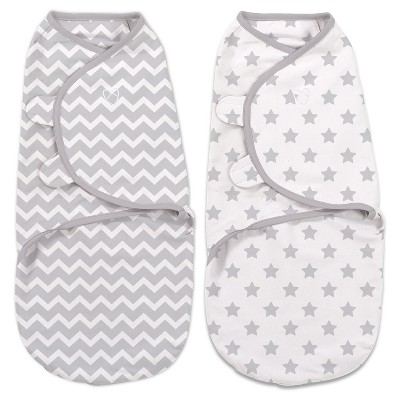 SwaddleMe Original Swaddle 0-3M - 2pk Gray Chevron/Stars S