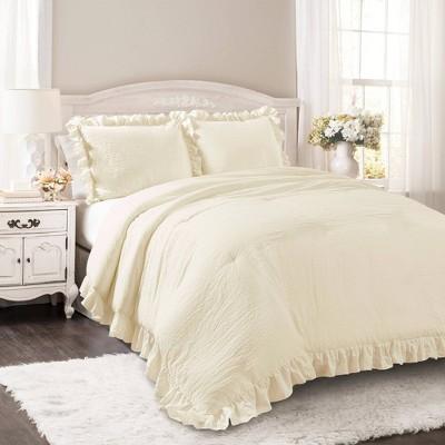 King Reyna Comforter Set Ivory - Lush Décor
