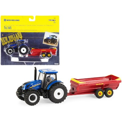 New Holland T6.165 Tractor Blue with V-Tank Spreader Red Set of 2 pieces 1/64 Diecast Models by ERTL TOMY
