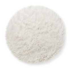 Faux Fur Rug (3' Round) White - Pillowfort™