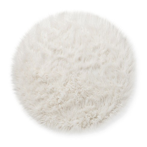 Faux Fur Round Rug White Pillowfort