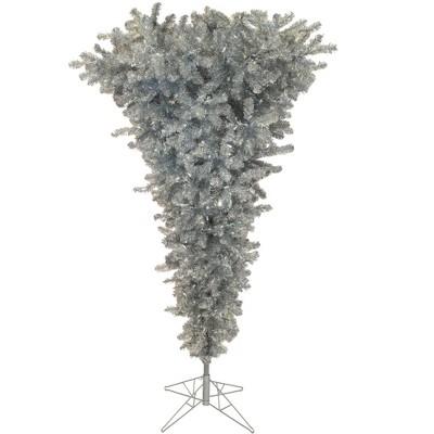 Vickerman Silver Upside Down Artificial Christmas Tree