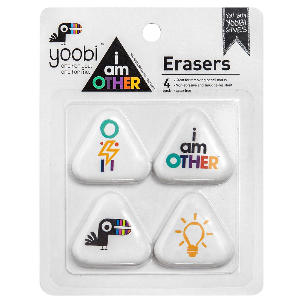 Yoobi x i am Other Triangle Erasers, 4ct - Multicolor