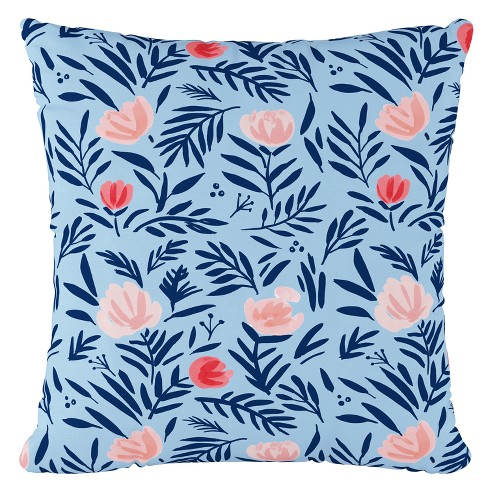 Blue Floral Throw Pillow - Cloth & Co - image 1 of 4