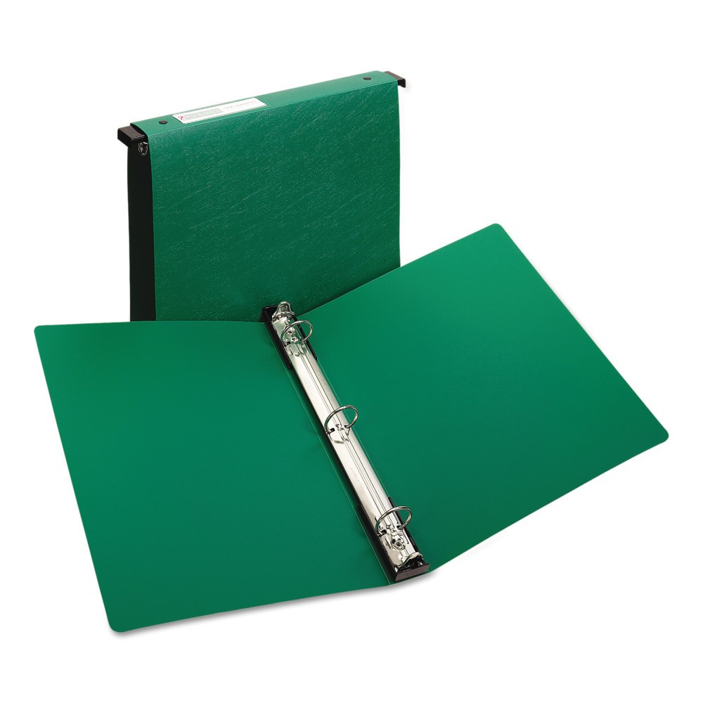 "Image of ""Avery Hanging Storage Binder with Gap Free Round Rings, 11 x 8 1/2, 1"""" Capacity, Green"""