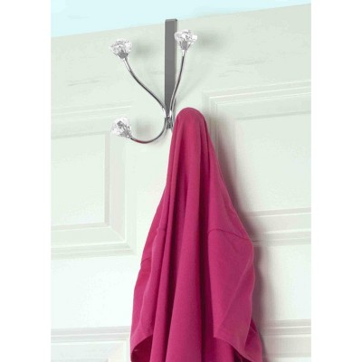 Home Basics Over the Door Double Hanging Hook with Crystal Knobs
