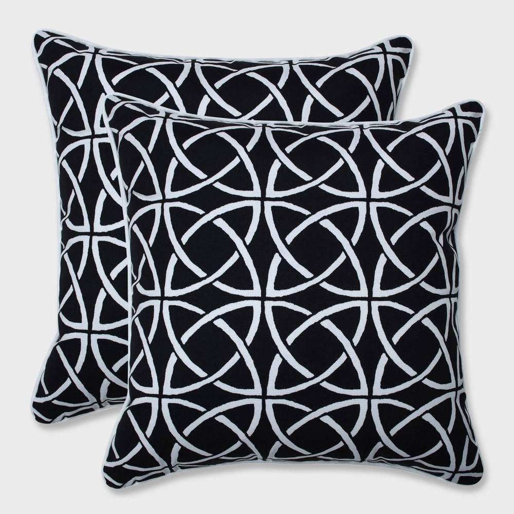 18.5 2pk Catamaran Tile Throw Pillows Black - Pillow Perfect