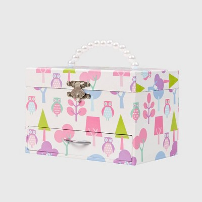Mele & Co. Molly Girls' Musical Ballerina Jewelry Box with Owl Pattern-White