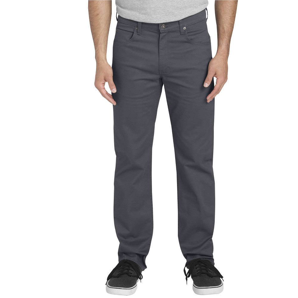 Dickies Men's Flex Twill Regular Straight Fit 5-Pocket Pants - Rinsed Charcoal 38x34