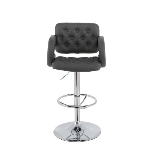 Adjule Tufted Bonded Leather Barstool With Armrests Set Of 2