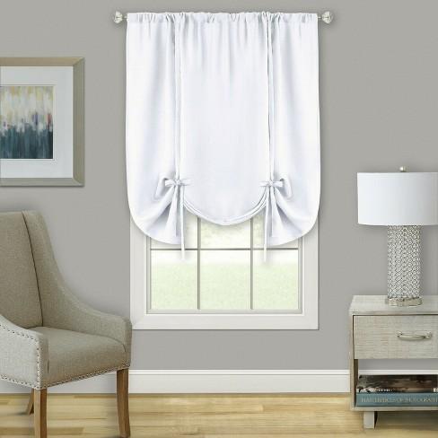 Kate Aurora Shabby Linen Farmhouse Sheer Flax Curtain Tie Up Window Shade - image 1 of 1
