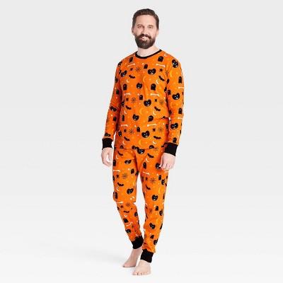 Men's Halloween Spooky Matching Family Pajama Set - Orange